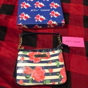 Betsey Johnson Sequined Striped Mini Purse NWT
